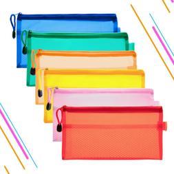 12Pcs 6 Color Pen Pencil Case Zip Pouch Double Layer File Ba