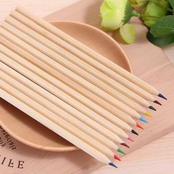 12pcs Wooden Colored Pencils Kids School Stationery Wooden P
