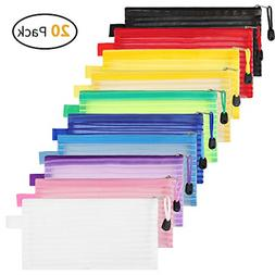 20 Pack 10 Colors Zipper Mesh Pouch Pencil Pouch Pen Bag Mul