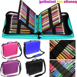 210 Slots Colored Pencil Case PU Leather Pencil Holder Sleev