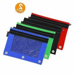 Emraw 3 Ring Holes Pencil Pouch Case Zipper Pen Pouches Bags