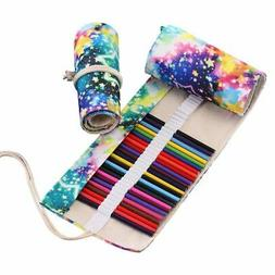 48 Colored Pencils Wrap Travel Roll Up Case Organizer Waterc