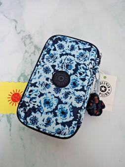 Kipling 50 PENS Print Pencil Cosmetic Case Roaming Roses Blu
