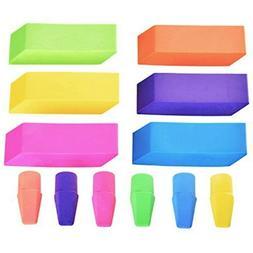 Emraw 6 Assorted Neon Color Pencil Bevel Eraser Rubber & Cap