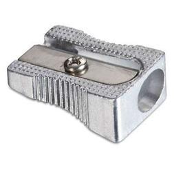 6 BAZIC Metal Pencil Sharpener, Metallic Silver