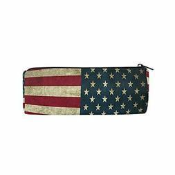 ALAZA American Flag Zipper Pencil Case Roll Pen Makeup Bag H