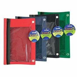 Bazic assorted COLOR 3-Ring Pencil Pouch with Mesh Window 1