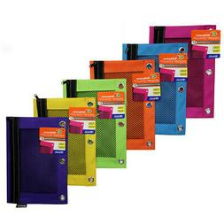 hnfshop Bright Color 3-Ring Pencil Pouch w/ Mesh Window, 6 p