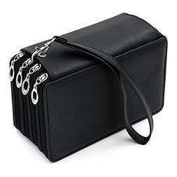BTSKY PU Bag Leather Pencil Pen Color Case Pouch 72 Slots Ho