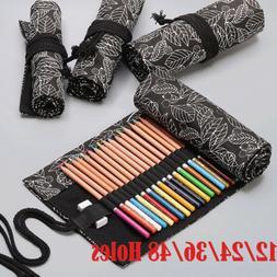 Canvas Wrap Roll Up Pouch Pen Pencil Case Bag Storage Holder