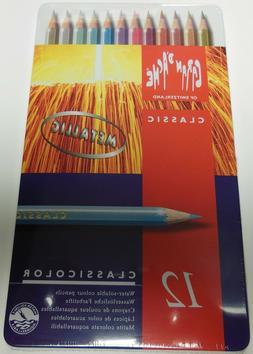 Caran D'Ache Classic Color Metallic Art Pencils, 12 Assorted