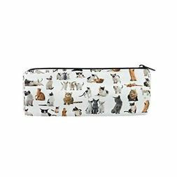 ALAZA Cats and Kitten on White Animal Pencil Pen Case Pouch