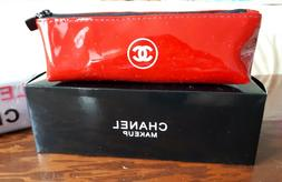 Chanel CC Red Patent Leather Pencil Makeup Cosmetic Pouch Ba