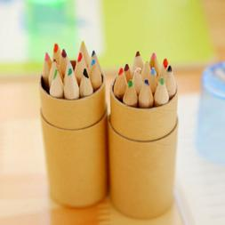 Colored Pencils With Sharpener Wooden Writing Painting 12 Co