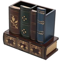 Decorative Library Books Design Wooden Office Supply Caddy P