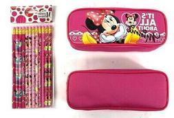 Disney Minnie Mouse Pencil Case Pencil Pouch with 12 Pencils