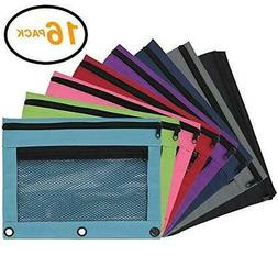 Emraw Double Pocket Zippered Pencil Pouches with 3-Ring Grom