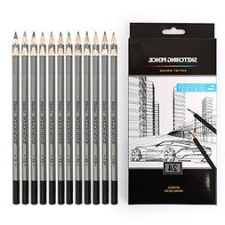 24 Drawing Pencils Set, Art Sketching Pencils 14B, 12B, 10B,