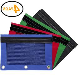 Emraw Zippered Pencil Pouches with 3-Ring Grommet Holes & Qu