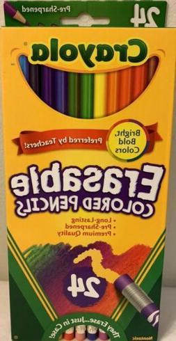 Crayola Erasable Pre-Sharpened Colored Pencil Set, 3.3 mm Th