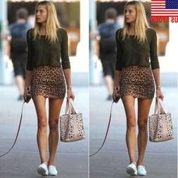 Fashion Women Leopard Skirt High Waist Elastic Bodycon Mini