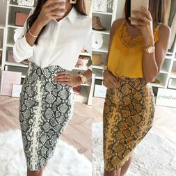 Fashion Women's High Waist Pencil Skirt Stretchy Bodycon Sna
