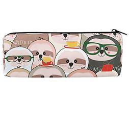 ALAZA Funny Lovely Cartoon Sloth Barrel Cotton Pencil Pen Ba