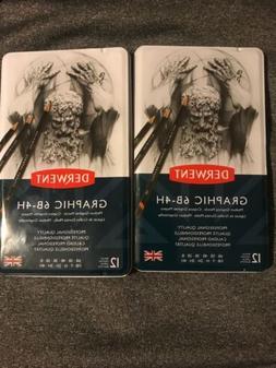Derwent Graphic Medium Graphite Pencils 6B-4H  Set of 12  #
