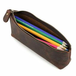 Handmade Retro Leather Pencil Case Pen Pouch Glasses Toolkit