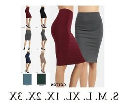 High Waisted Womens Pencil Office Skirt Cotton Stretch Knee