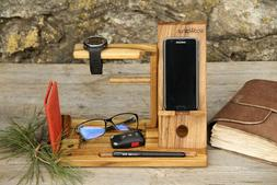 Home Office Pen Pencil Phone Holder Wooden Stationery Desk S