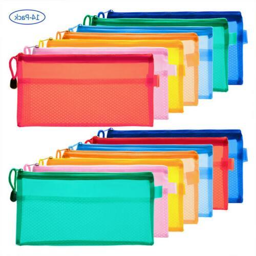 14 PCS 7 Colors Pencil Pouch Zipper File Document Bags Water
