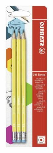 STABILO 160 2B Graphite Pencil with Eraser Tip - Yellow , Pa