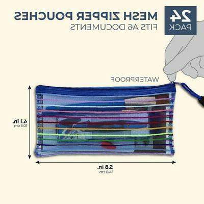 24-Pack Mesh Pouch Holder School Office