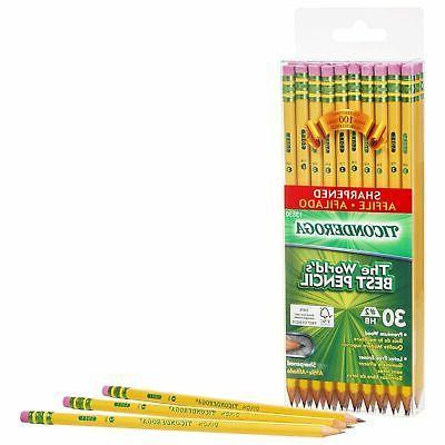 30 Pencils, Pre-Sharpened, Graphite #2 Yellow, TICONDEROGA