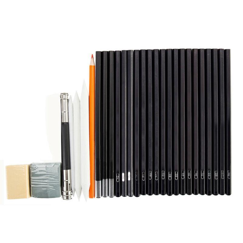 30pc Professional Kit Set Sketch Charcoal & Bag