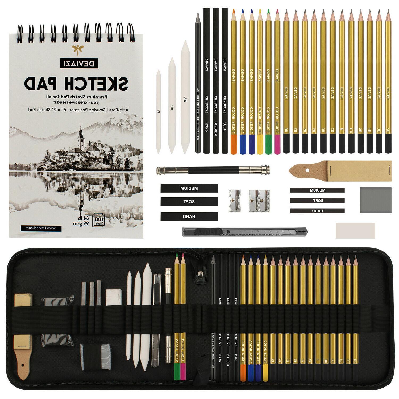 40 piece set drawing artist pencils sketching