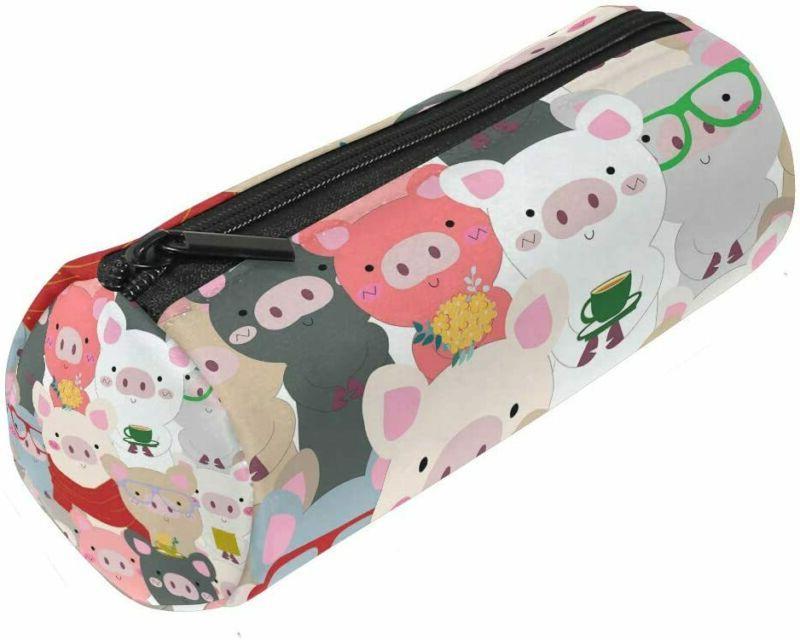 Alaza Pig Blue Grey Pencil Case Pouch Bag