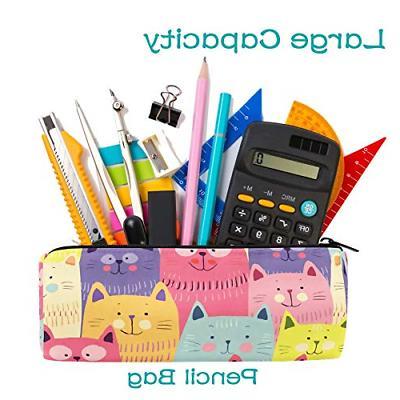 Cute Cats Colorful Barrel Pen Bag Pouch Case Office
