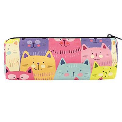 Cute Cats Colorful Canvas Barrel Pencil Pen Bag Pouch Case H