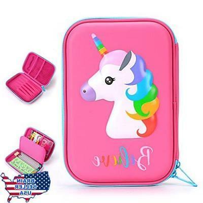 BTSKY Cute Unicorn Hard Shell Pencil Case- Large EVA Colored