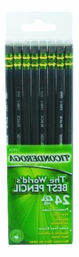 Ticonderoga Dixon Wood-Cased #2 Pencils, Box of 24, Black