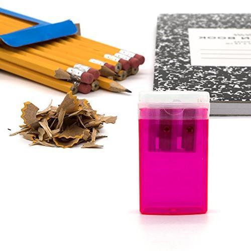Emraw Pencil & Rectangular Receptacle Catch & Blue, Green, Black School Home Office 4-Pack