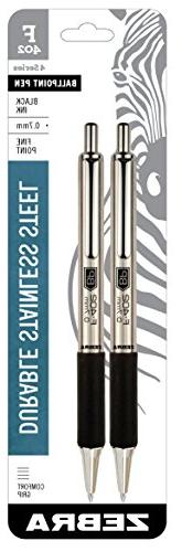 Zebra Pen 29212 Zebra F-402 Ballpoint Stainless Steel Retrac