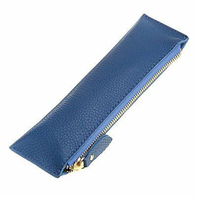 BTSKY Genuine Leather Pencil Case - Zippered Pen Case Statio