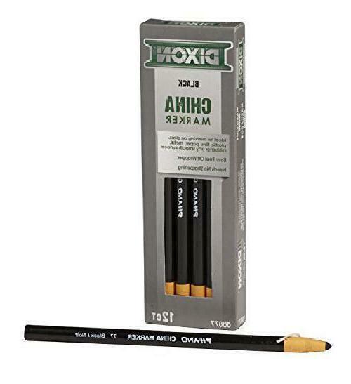 DIXON Industrial China Marker Pencils, Black, 12-Pack