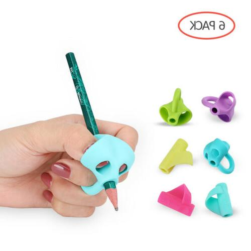 6Pack Pencil Grips Holder Silicone Ergonomic Pen Grippers Wr