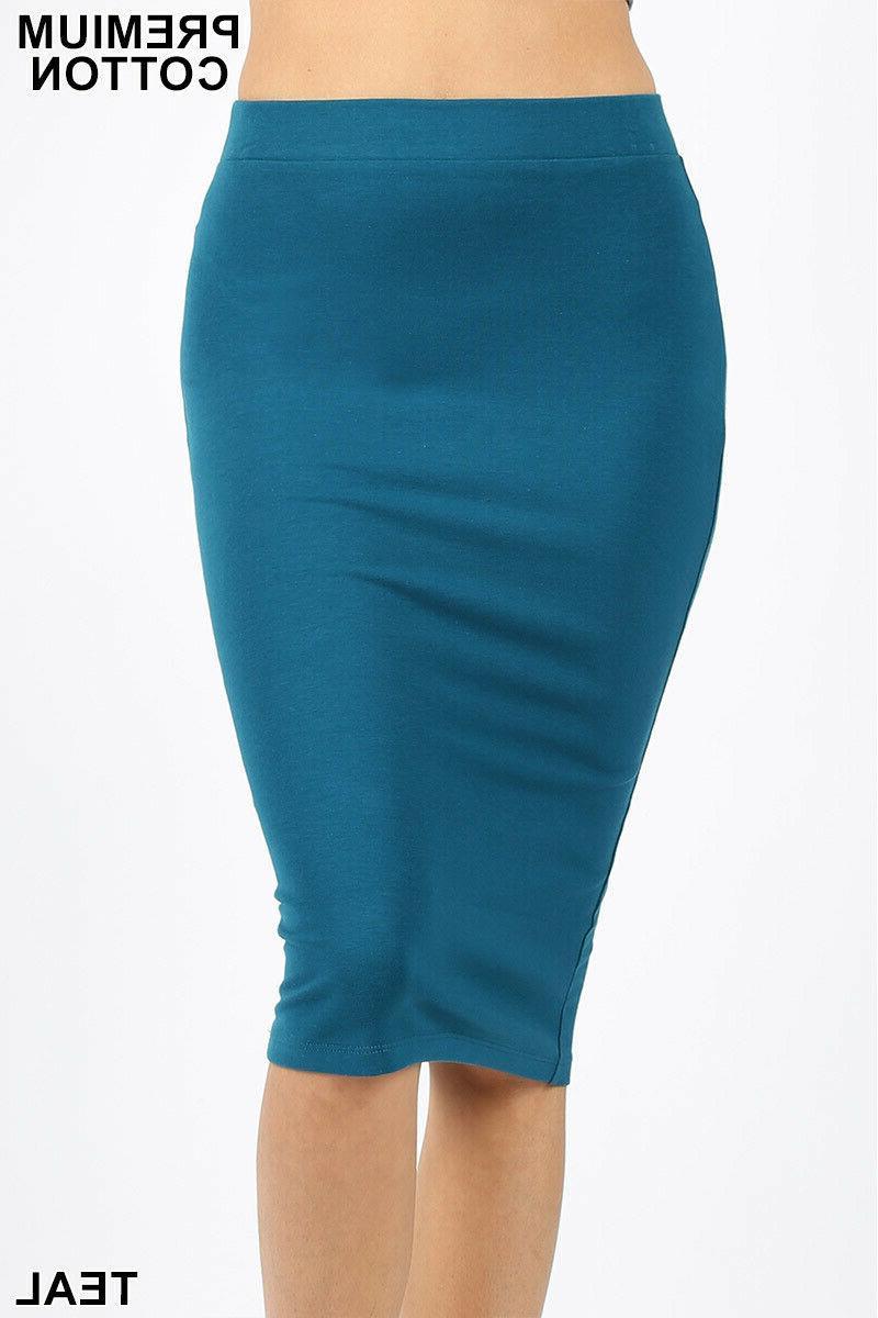 Zenana Pencil Skirt Bodycon Stretch Cotton M L XL USA