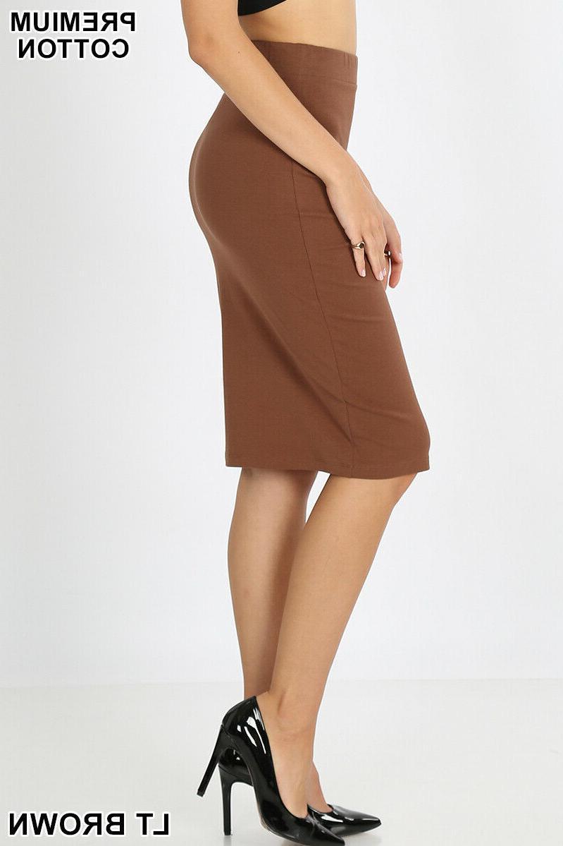 Zenana Pencil Knee Skirt Bodycon High Waist Premium Stretch L