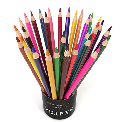ARTEZA Pencils of 48 Colors with Color Names, Pre Soft Cores, Ideal for Art, Shading & Coloring, Vibrant for Begin